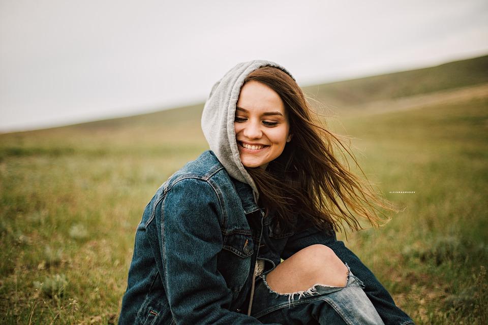 Happy Grass Model Denim Woman Person
